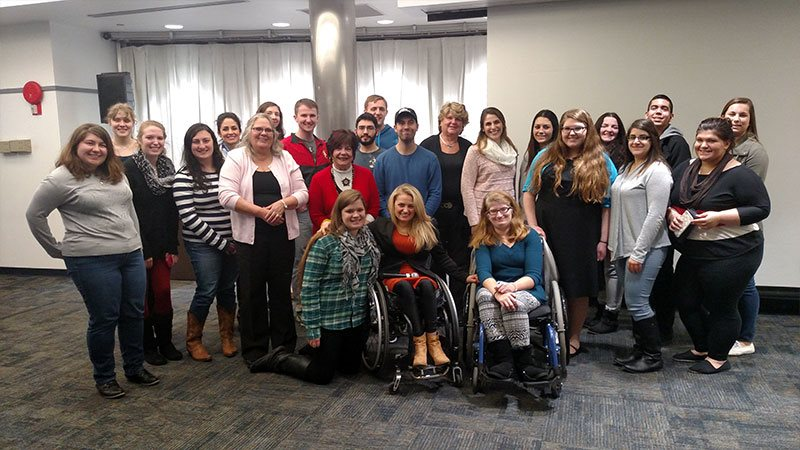 Ali Stroker with SJC students, faculty and staff