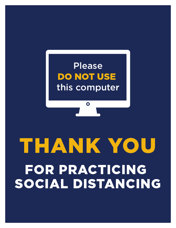 Please do not use this computer —social distance sign