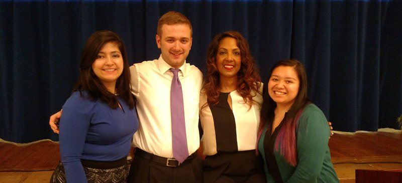 Michelle Bernard with students at SJC Brooklyn on Thursday, May 12